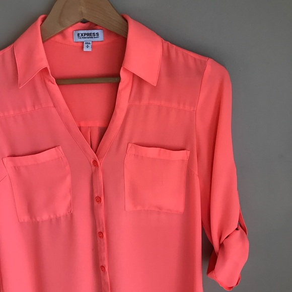 3941ed1e8213 Express Tops - Express Portofino Shirt in Neon Orange
